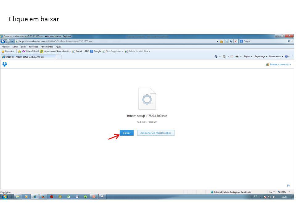 O Internet Explorer irá bloquear a página. Clique na aba amarela