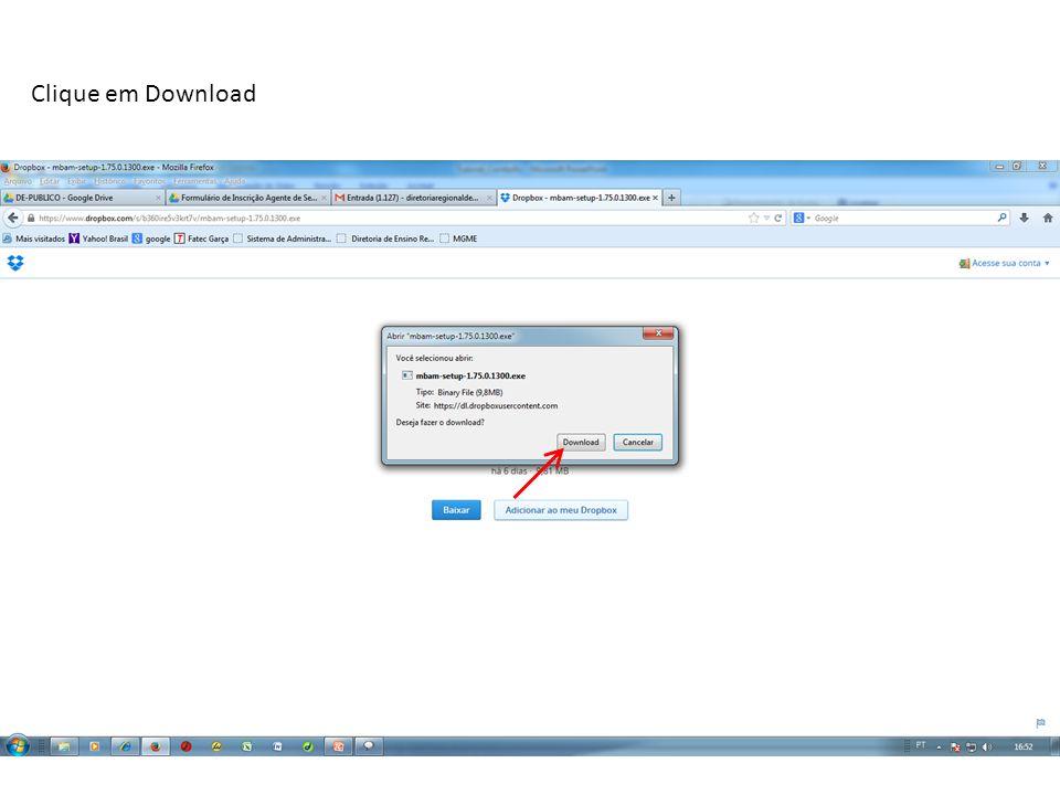 Abra a pasta de Downloads e clique no ícone do programa