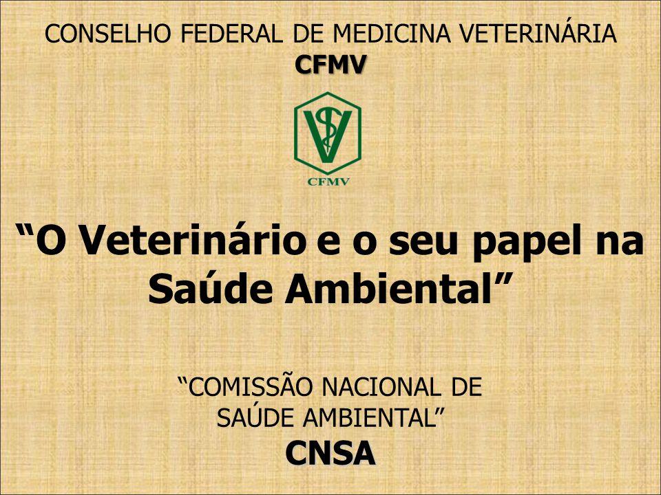 COMISSÃO NACIONAL DE SAÚDE AMBIENTALCNSA CONSELHO FEDERAL DE MEDICINA VETERINÁRIACFMV O Veterinário e o seu papel na Saúde Ambiental