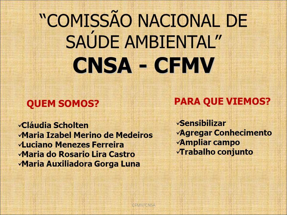CFMV/CNSA COMISSÃO NACIONAL DE SAÚDE AMBIENTAL CNSA - CFMV PARA QUE VIEMOS? Cláudia Scholten Maria Izabel Merino de Medeiros Luciano Menezes Ferreira