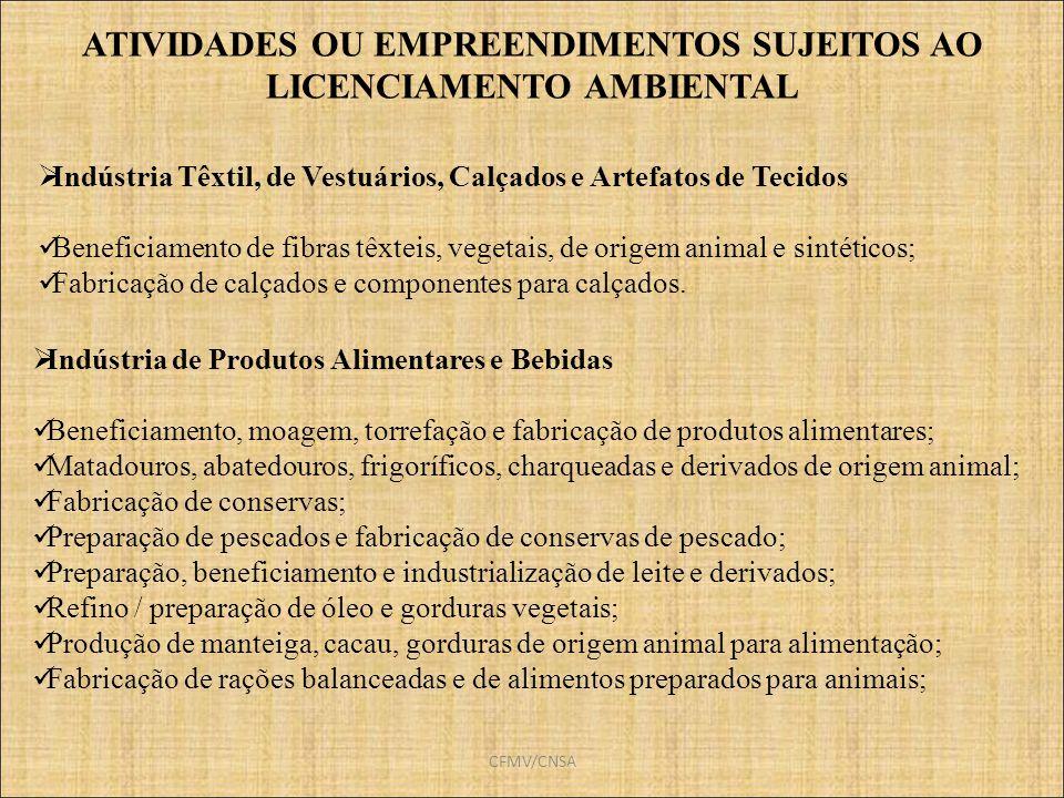 CFMV/CNSA Indústria de Produtos Alimentares e Bebidas Beneficiamento, moagem, torrefação e fabricação de produtos alimentares; Matadouros, abatedouros