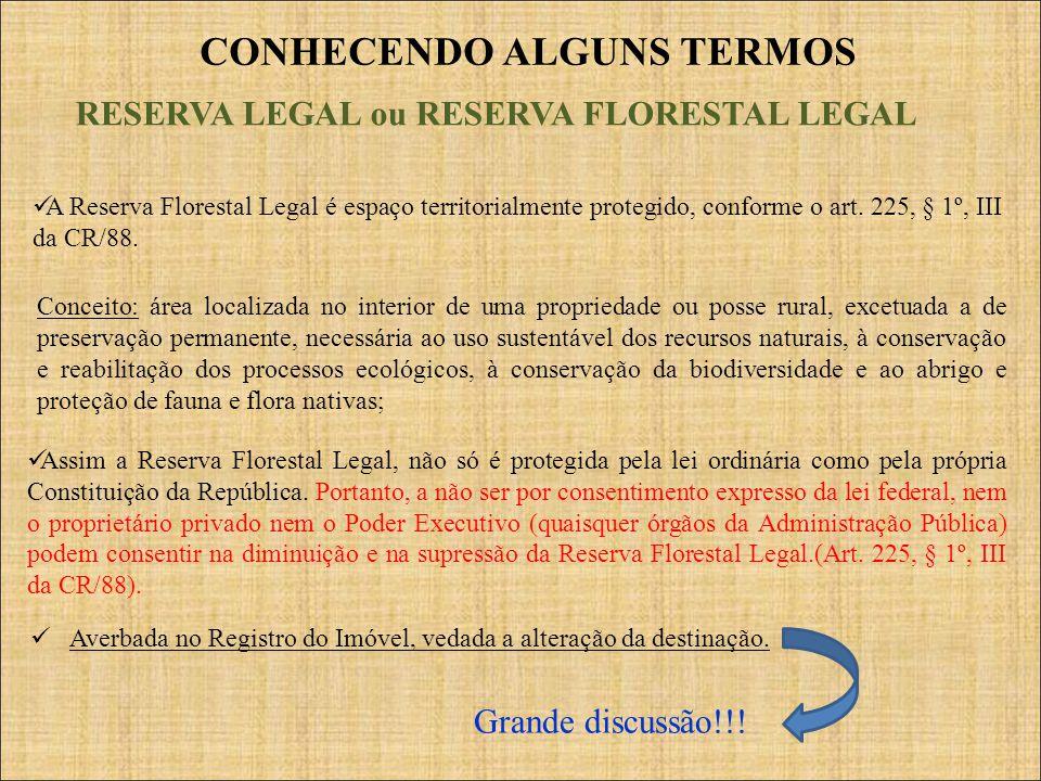CONHECENDO ALGUNS TERMOS RESERVA LEGAL ou RESERVA FLORESTAL LEGAL Assim a Reserva Florestal Legal, não só é protegida pela lei ordinária como pela pró