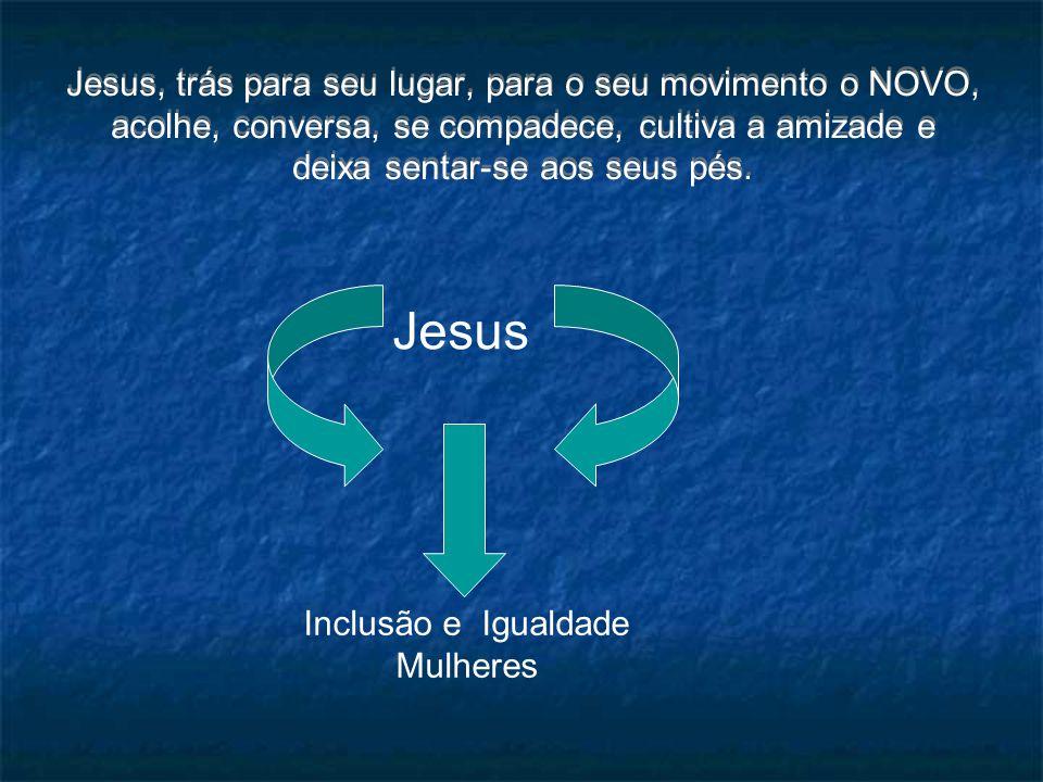 Jesus, trás para seu lugar, para o seu movimento o NOVO, acolhe, conversa, se compadece, cultiva a amizade e deixa sentar-se aos seus pés. Jesus Inclu
