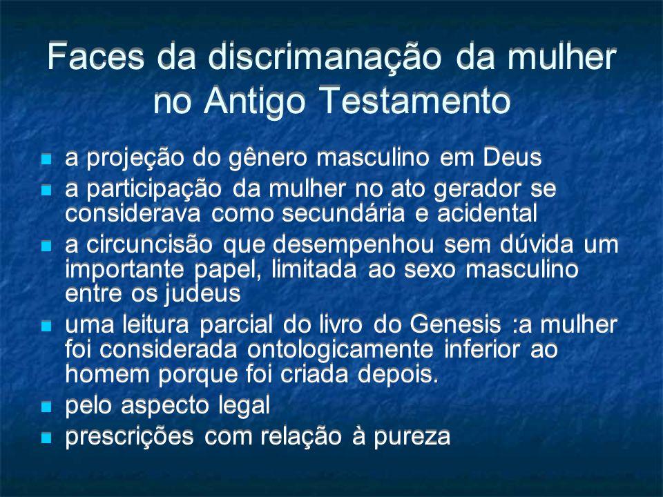 Faces da discrimanação da mulher no Antigo Testamento a projeção do gênero masculino em Deus a participação da mulher no ato gerador se considerava co