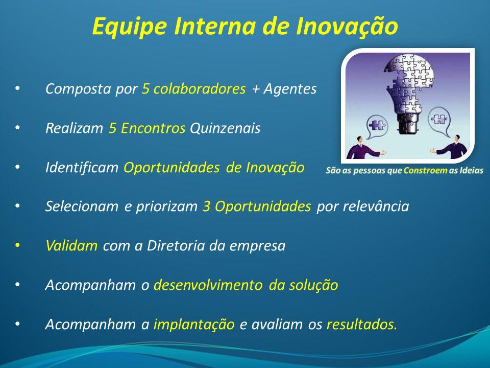 Equipe Interna de Inovação Composta por 5 colaboradores + Agentes Realizam 5 Encontros Quinzenais Identificam Oportunidades de Inovação Selecionam e p