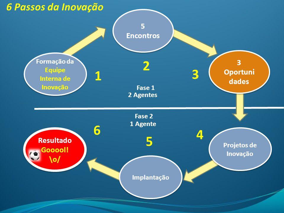Formação da Equipe Interna de Inovação 5 Encontros 3 Oportuni dades 3 Oportuni dades Projetos de Inovação Implantação Resultado Gooool! \o/ 6 Passos d