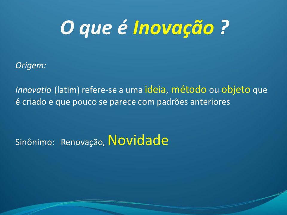 O que é Inovação ? Origem: Innovatio (latim) refere-se a uma ideia, método ou objeto que é criado e que pouco se parece com padrões anteriores Sinônim