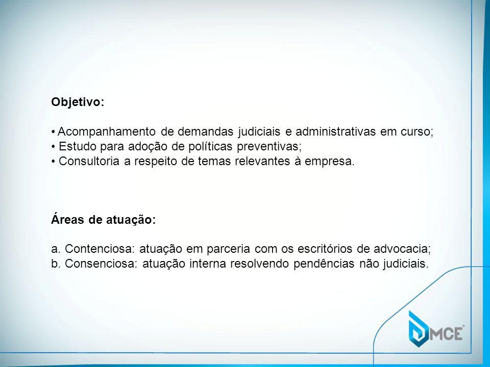 Objetivo: Acompanhamento de demandas judiciais e administrativas em curso; Estudo para adoção de políticas preventivas; Consultoria a respeito de temas relevantes à empresa.
