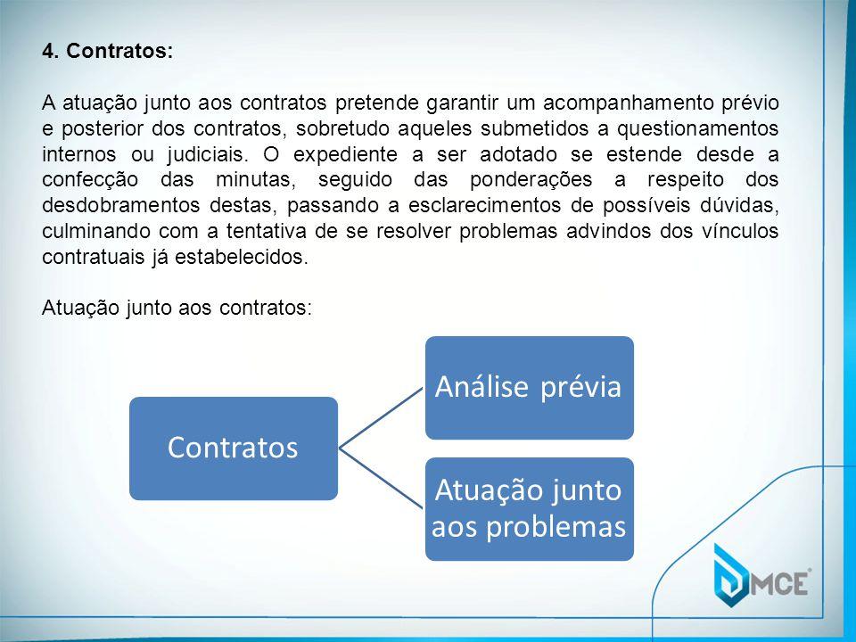 4. Contratos: A atuação junto aos contratos pretende garantir um acompanhamento prévio e posterior dos contratos, sobretudo aqueles submetidos a quest