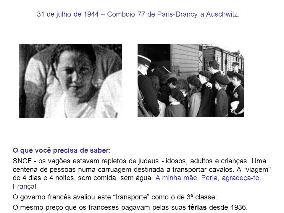 31 de julho de 1944 – Comboio 77 de Paris-Drancy a Auschwitz: O que você precisa de saber: SNCF - os vagões estavam repletos de judeus - idosos, adult