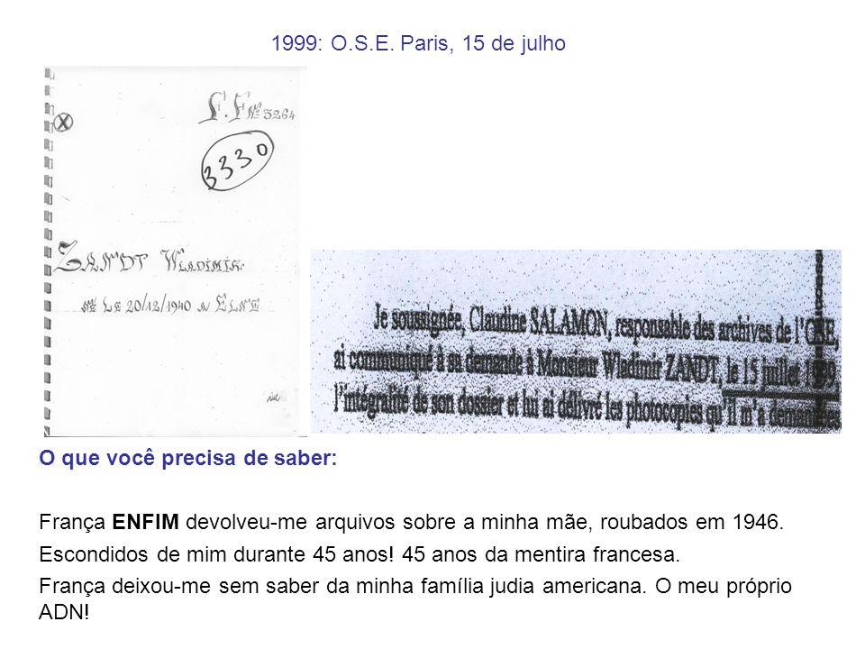 1999: O.S.E. Paris, 15 de julho O que você precisa de saber: França ENFIM devolveu-me arquivos sobre a minha mãe, roubados em 1946. Escondidos de mim
