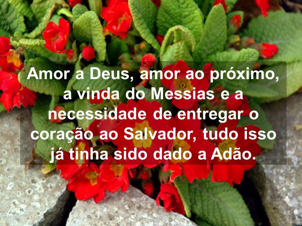 Amor a Deus, amor ao próximo, a vinda do Messias e a necessidade de entregar o coração ao Salvador, tudo isso já tinha sido dado a Adão.