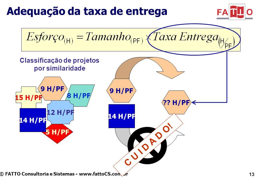© FATTO Consultoria e Sistemas - www.fattoCS.com.br Adequação da taxa de entrega 15 H/PF 5 H/PF 8 H/PF 12 H/PF Classificação de projetos por similarid