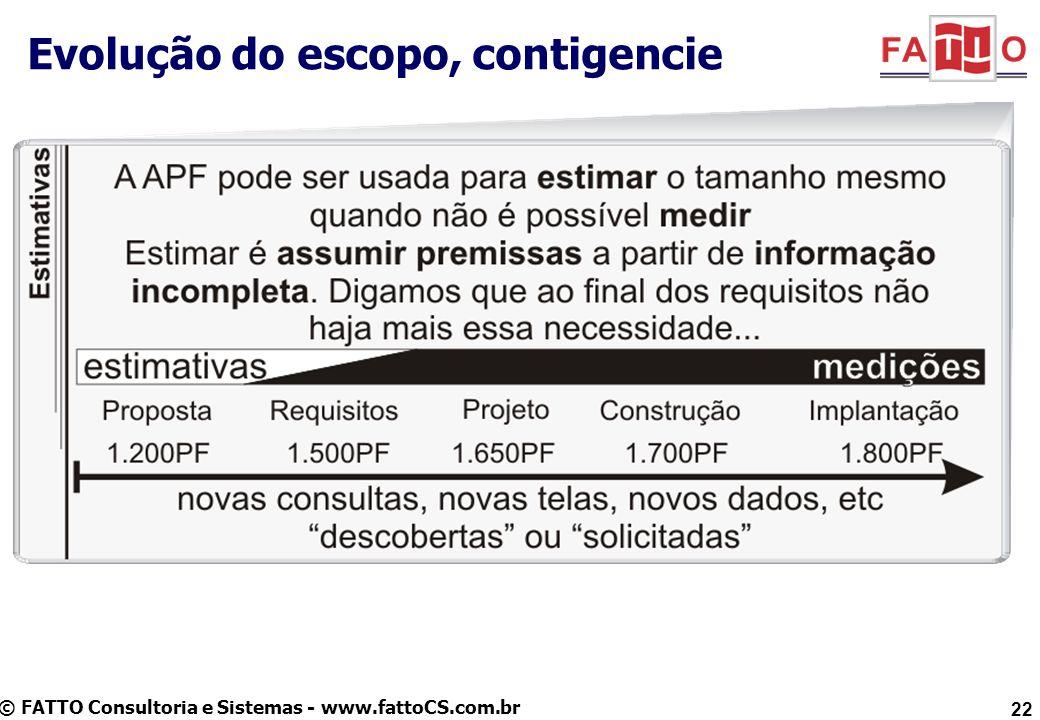 © FATTO Consultoria e Sistemas - www.fattoCS.com.br Evolução do escopo, contigencie 22