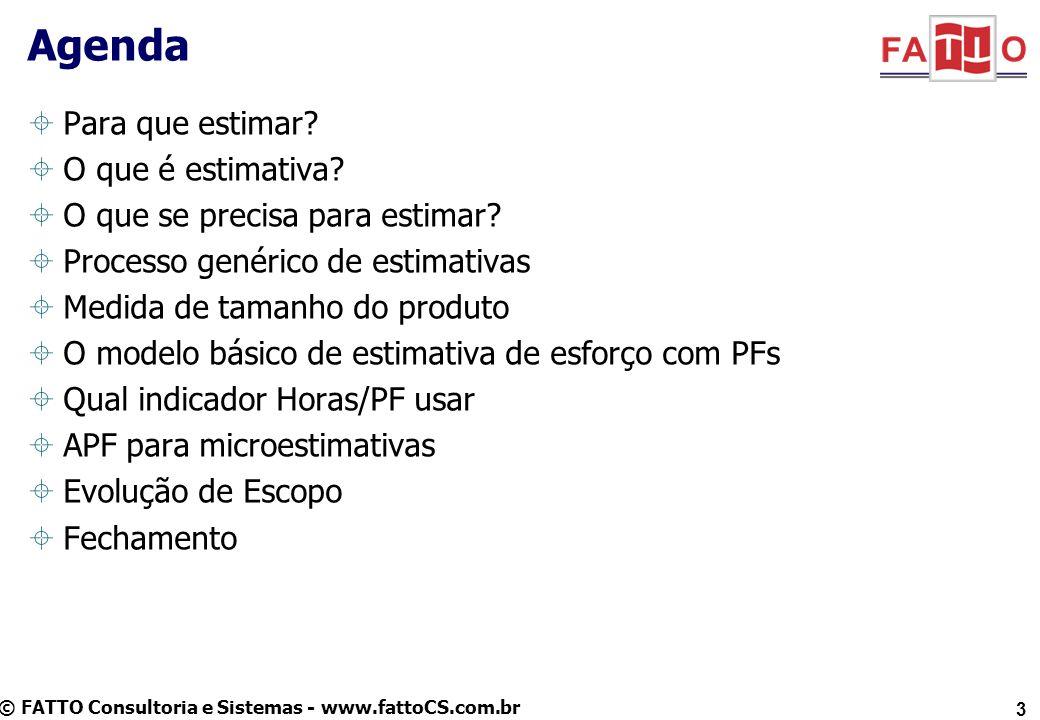 © FATTO Consultoria e Sistemas - www.fattoCS.com.br 3 Agenda Para que estimar? O que é estimativa? O que se precisa para estimar? Processo genérico de