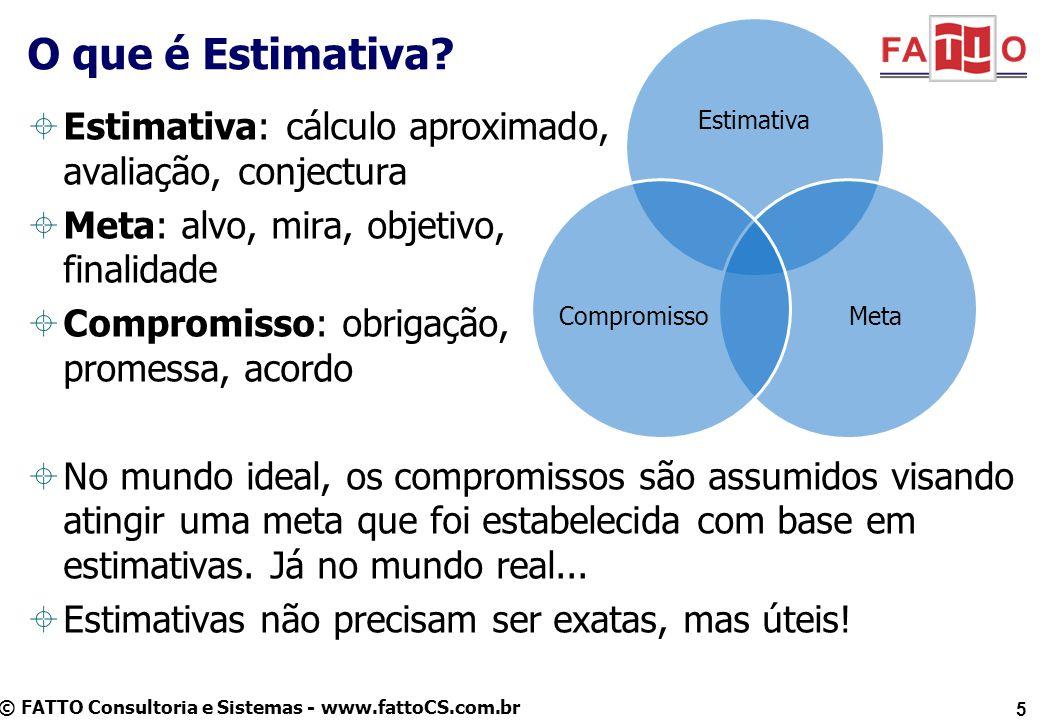 © FATTO Consultoria e Sistemas - www.fattoCS.com.br Estimativa: cálculo aproximado, avaliação, conjectura Meta: alvo, mira, objetivo, finalidade Compr