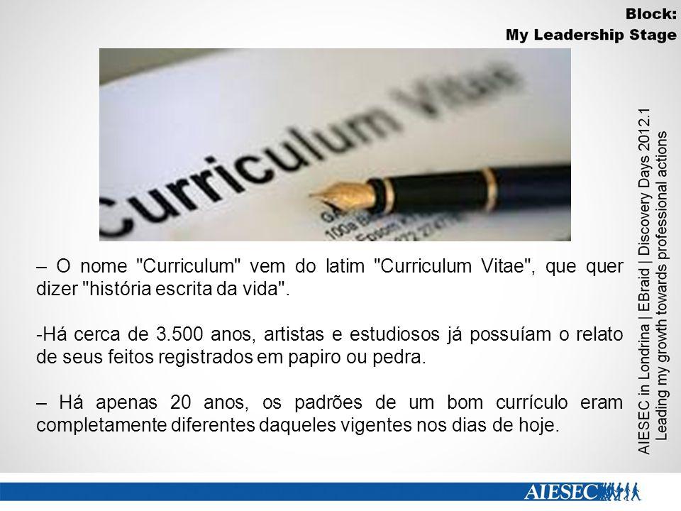 – O nome Curriculum vem do latim Curriculum Vitae , que quer dizer história escrita da vida .