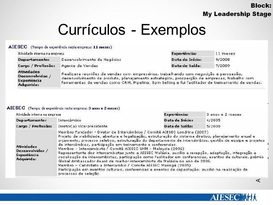 Currículos - Exemplos