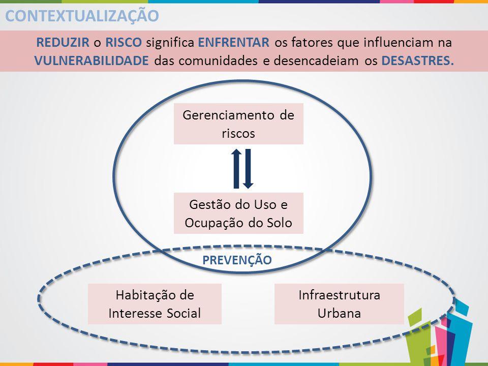 CONTEXTUALIZAÇÃO REDUZIR o RISCO significa ENFRENTAR os fatores que influenciam na VULNERABILIDADE das comunidades e desencadeiam os DESASTRES. Gestão
