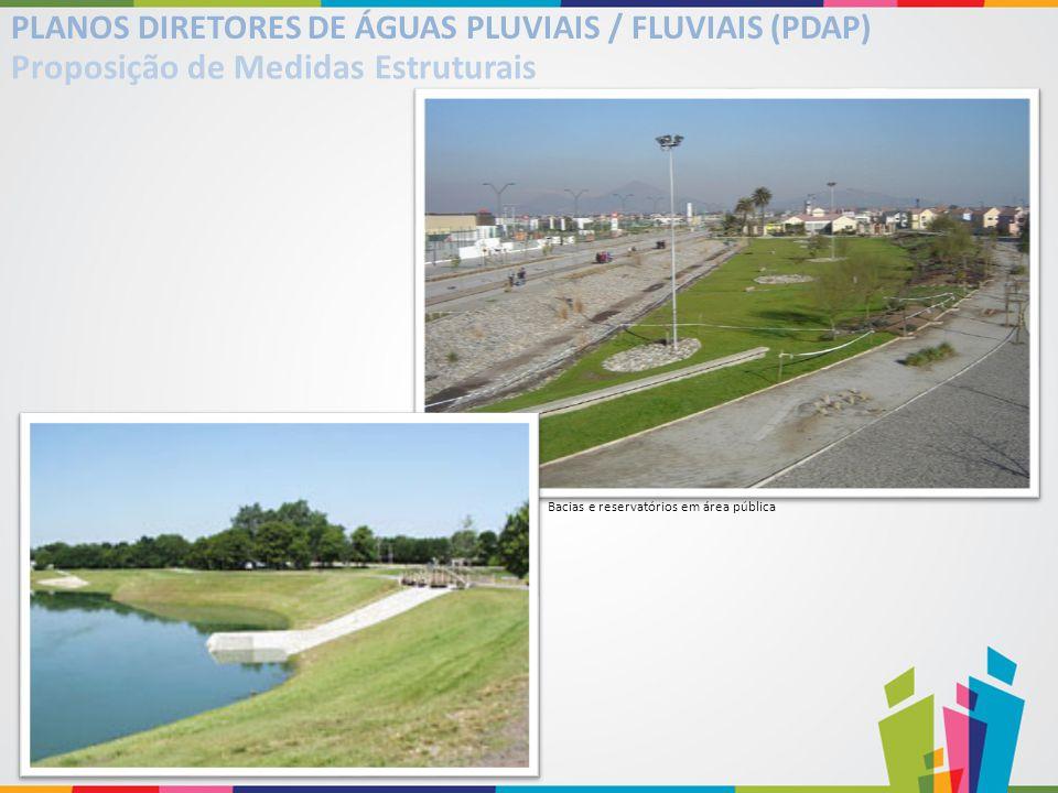 Bacias e reservatórios em área pública PLANOS DIRETORES DE ÁGUAS PLUVIAIS / FLUVIAIS (PDAP) Proposição de Medidas Estruturais