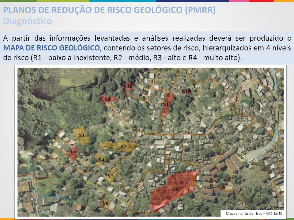 A partir das informações levantadas e análises realizadas deverá ser produzido o MAPA DE RISCO GEOLÓGICO, contendo os setores de risco, hierarquizados