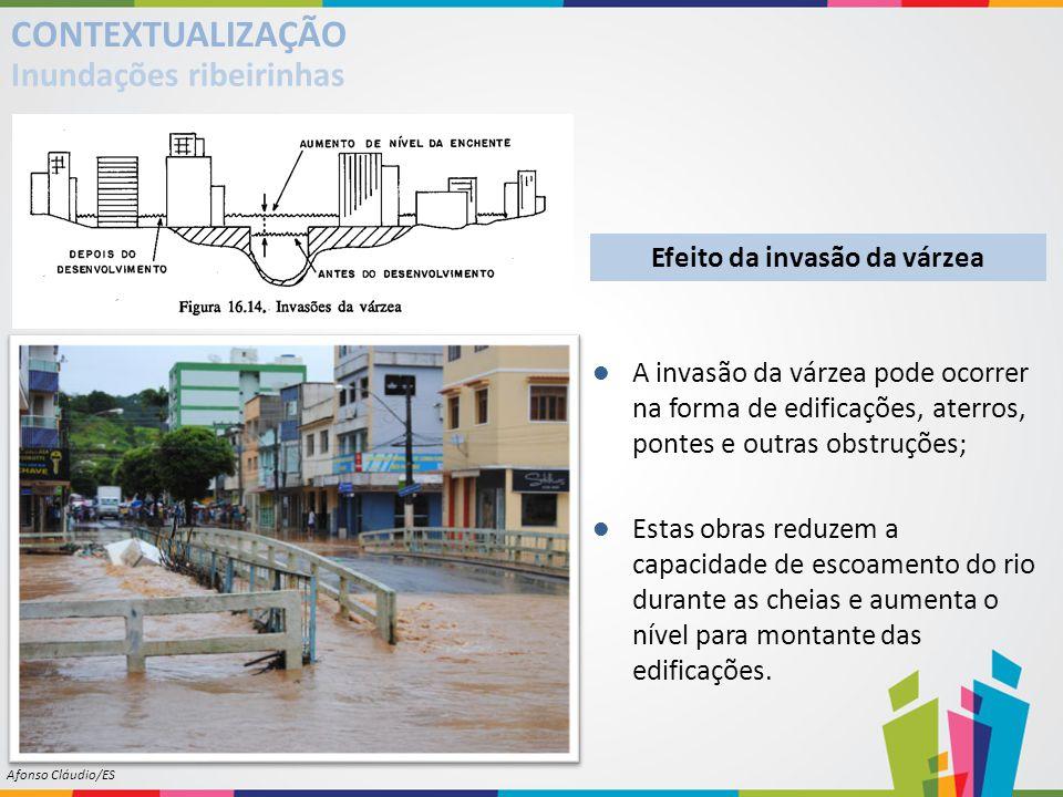 Efeito da invasão da várzea A invasão da várzea pode ocorrer na forma de edificações, aterros, pontes e outras obstruções; Estas obras reduzem a capac