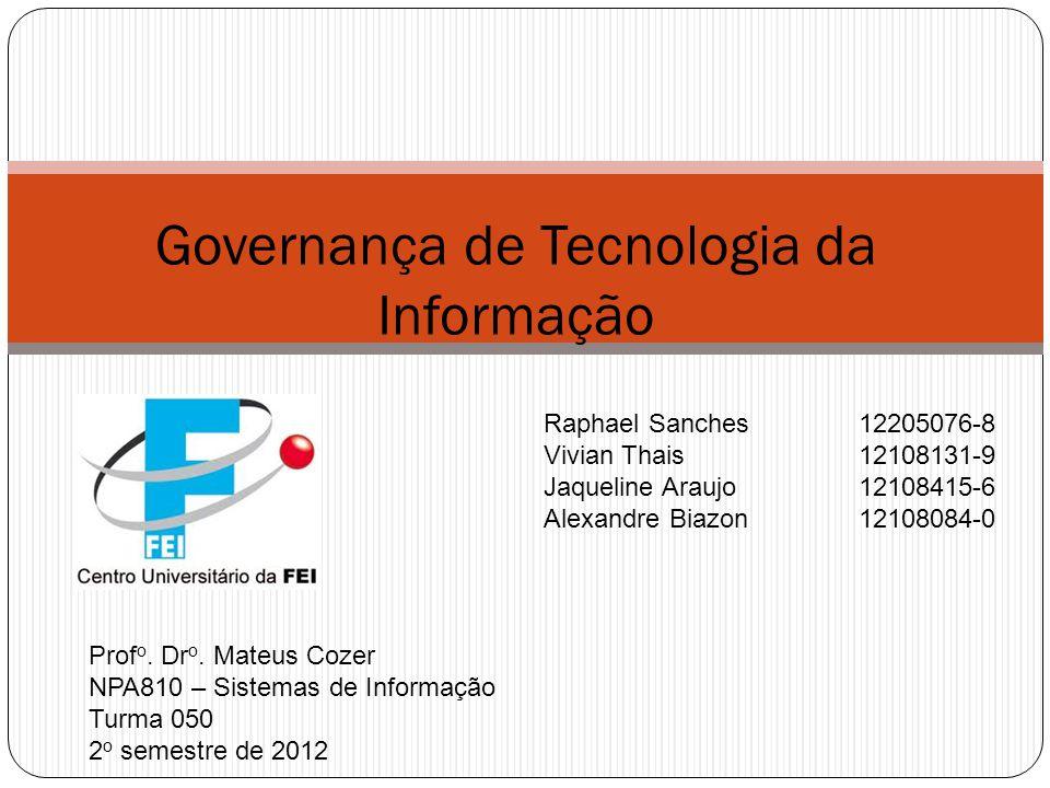 Implementando o processo 01/09/2012 Governança de Tecnologia da Informação 4º passo – Avaliação do nível de maturidade CobiT Fonte: ISACA, COBIT Executive Summary and Framework, 4rd ed, 2007