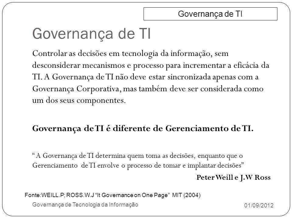 Governança de TI 01/09/2012 Governança de Tecnologia da Informação Controlar as decisões em tecnologia da informação, sem desconsiderar mecanismos e p