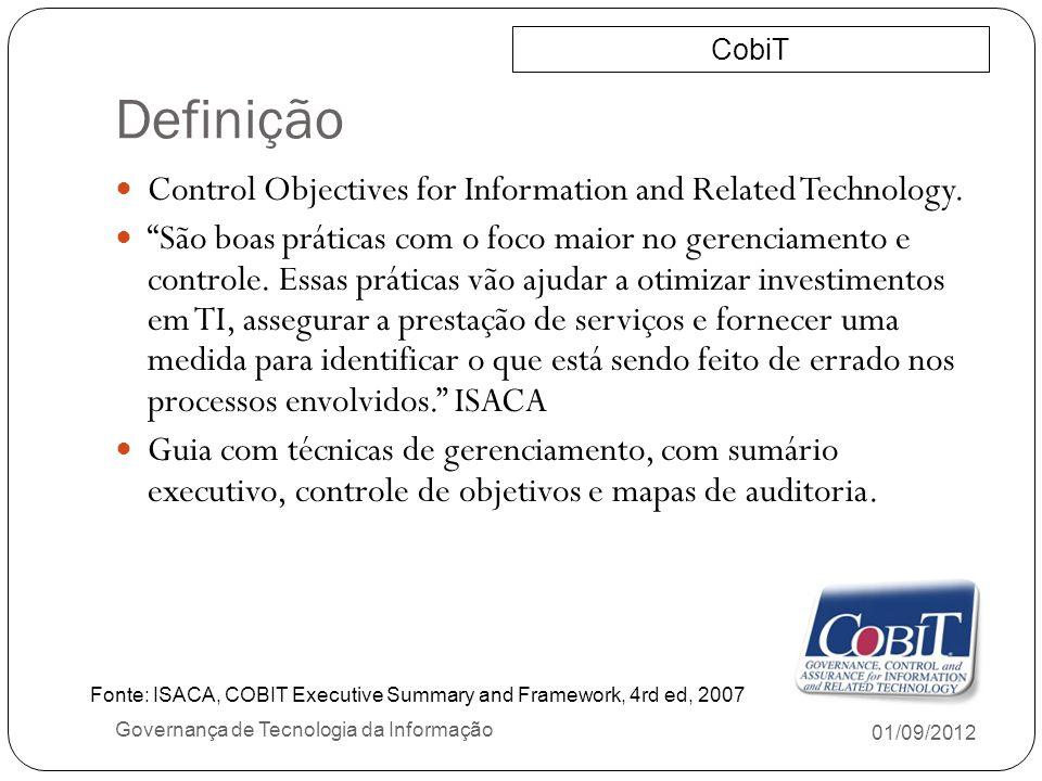 Definição 01/09/2012 Governança de Tecnologia da Informação Control Objectives for Information and Related Technology. São boas práticas com o foco ma