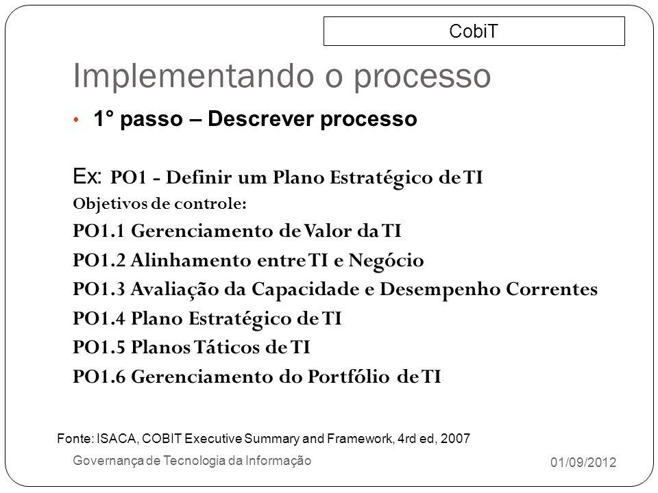 Implementando o processo 01/09/2012 Governança de Tecnologia da Informação 1° passo – Descrever processo Ex: PO1 - Definir um Plano Estratégico de TI