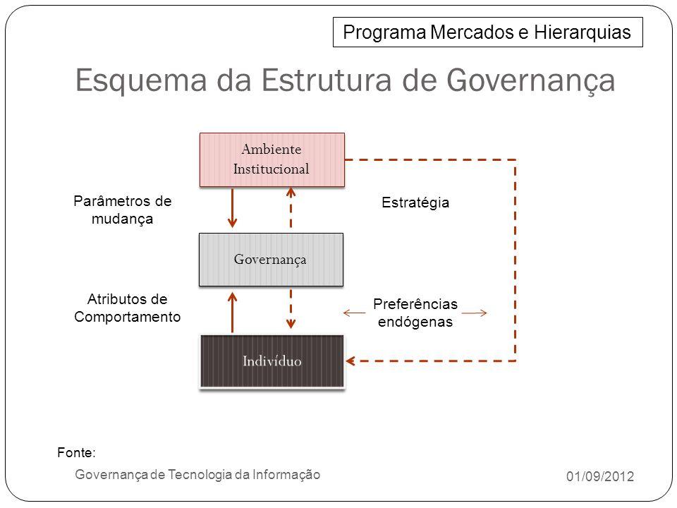 Entregar e Suportar 01/09/2012 Governança de Tecnologia da Informação DS1 - Definir e Gerenciar Níveis de Serviços DS2 - Gerenciar Serviços Terceirizados DS3 - Gerenciar o Desempenho e a Capacidade DS4 -Assegurar a Continuidade dos Serviços DS5 - Garantir a Segurança dos Sistemas DS6 - Identificar e Alocar Custos DS7 - Educar e Treinar os Usuários DS8 - Gerenciar a Central de Serviço e os Incidentes DS9 - Gerenciar a Configuração DS10 - Gerenciar Problemas DS11 - Gerenciar os Dados DS12 - Gerenciar o Ambiente Físico DS13 - Gerenciar as Operações CobiT Fonte: ISACA, COBIT Executive Summary and Framework, 4rd ed, 2007