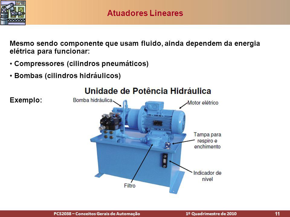 PCS2038 – Conceitos Gerais de Automação 1º Quadrimestre de 2010 11 Atuadores Lineares Mesmo sendo componente que usam fluido, ainda dependem da energi
