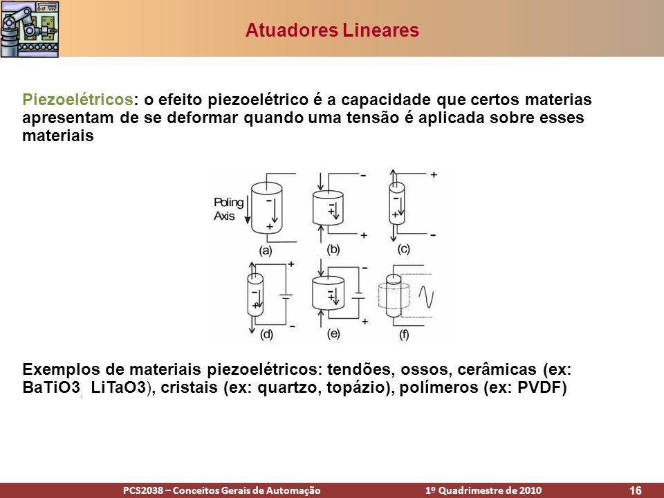 PCS2038 – Conceitos Gerais de Automação 1º Quadrimestre de 2010 16 Atuadores Lineares Piezoelétricos: o efeito piezoelétrico é a capacidade que certos