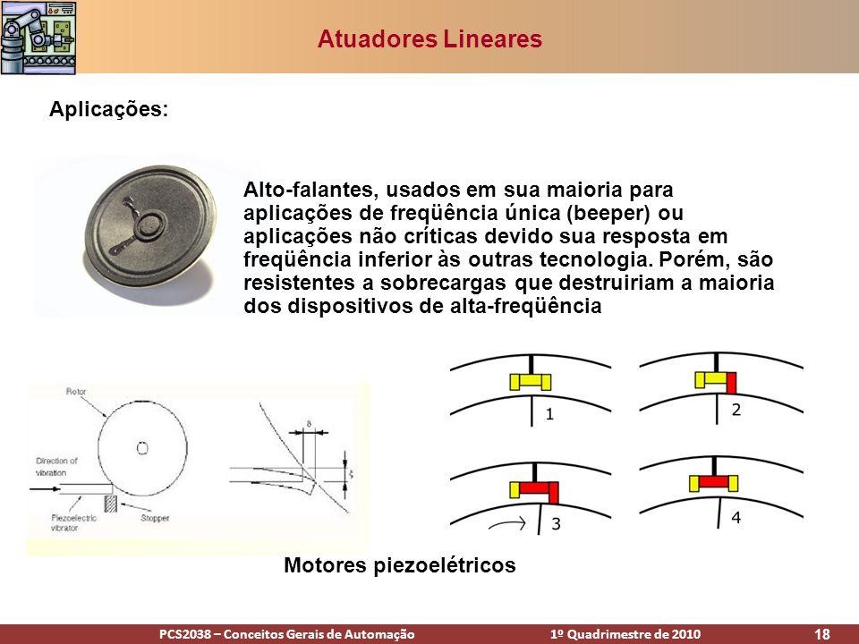 PCS2038 – Conceitos Gerais de Automação 1º Quadrimestre de 2010 18 Atuadores Lineares Aplicações: Alto-falantes, usados em sua maioria para aplicações
