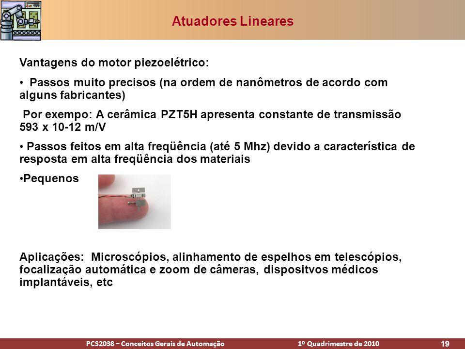 PCS2038 – Conceitos Gerais de Automação 1º Quadrimestre de 2010 19 Atuadores Lineares Vantagens do motor piezoelétrico: Passos muito precisos (na orde