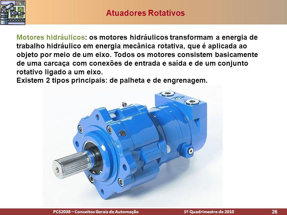 PCS2038 – Conceitos Gerais de Automação 1º Quadrimestre de 2010 26 Atuadores Rotativos Motores hidráulicos: os motores hidráulicos transformam a energ