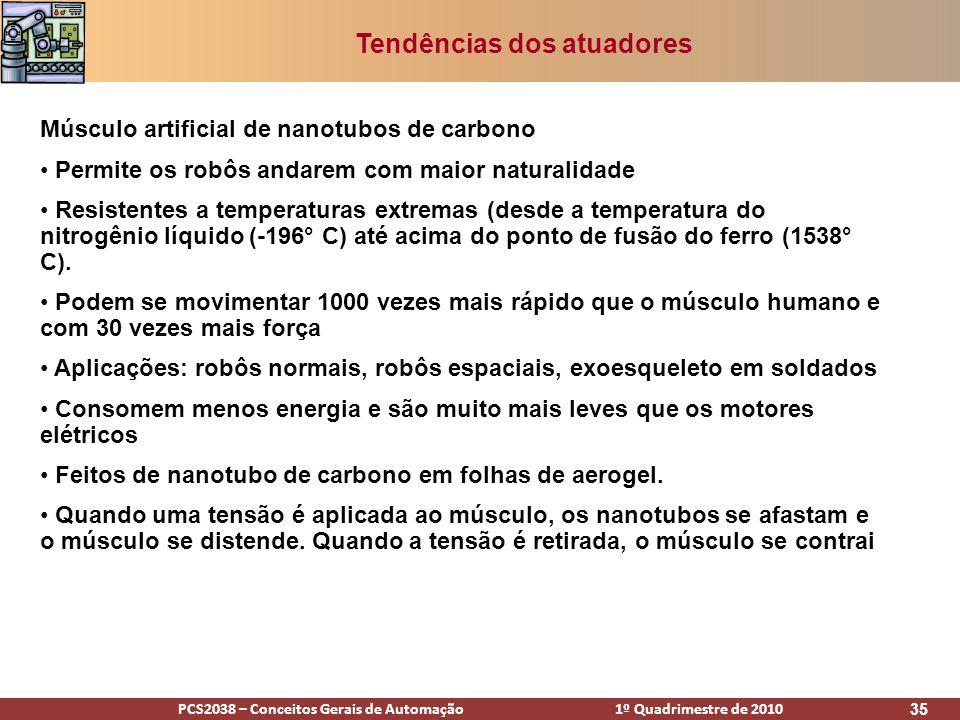 PCS2038 – Conceitos Gerais de Automação 1º Quadrimestre de 2010 35 Tendências dos atuadores Músculo artificial de nanotubos de carbono Permite os robô
