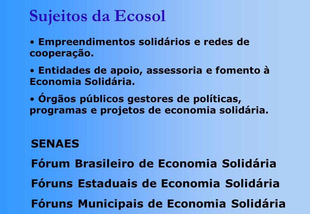 Empreendimentos solidários e redes de cooperação. Entidades de apoio, assessoria e fomento à Economia Solidária. Órgãos públicos gestores de políticas