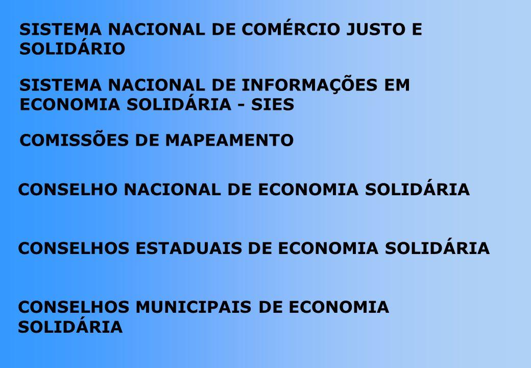 CONSELHO NACIONAL DE ECONOMIA SOLIDÁRIA CONSELHOS ESTADUAIS DE ECONOMIA SOLIDÁRIA CONSELHOS MUNICIPAIS DE ECONOMIA SOLIDÁRIA SISTEMA NACIONAL DE COMÉRCIO JUSTO E SOLIDÁRIO SISTEMA NACIONAL DE INFORMAÇÕES EM ECONOMIA SOLIDÁRIA - SIES COMISSÕES DE MAPEAMENTO