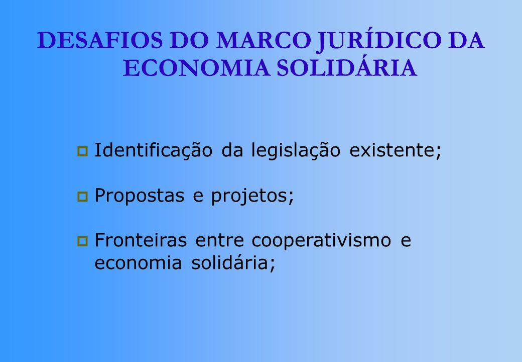 DESAFIOS DO MARCO JURÍDICO DA ECONOMIA SOLIDÁRIA Identificação da legislação existente; Propostas e projetos; Fronteiras entre cooperativismo e econom