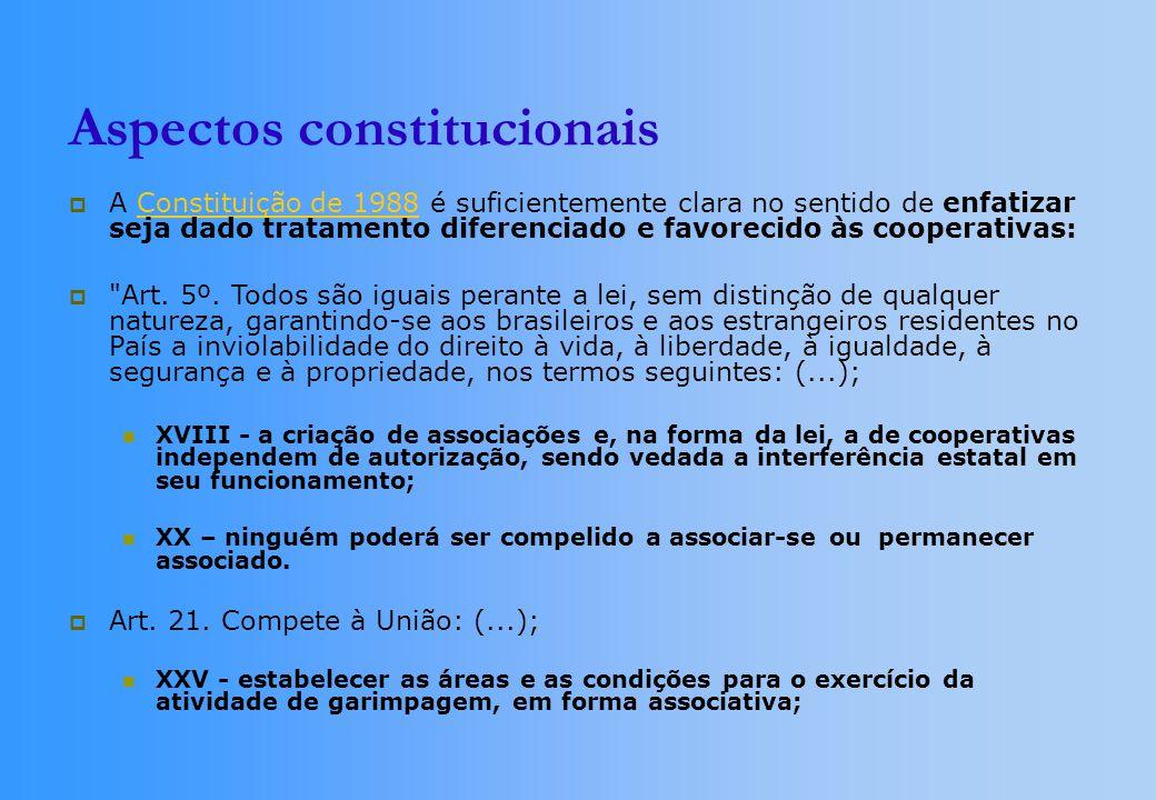Aspectos constitucionais A Constituição de 1988 é suficientemente clara no sentido de enfatizar seja dado tratamento diferenciado e favorecido às cooperativas:Constituição de 1988 Art.