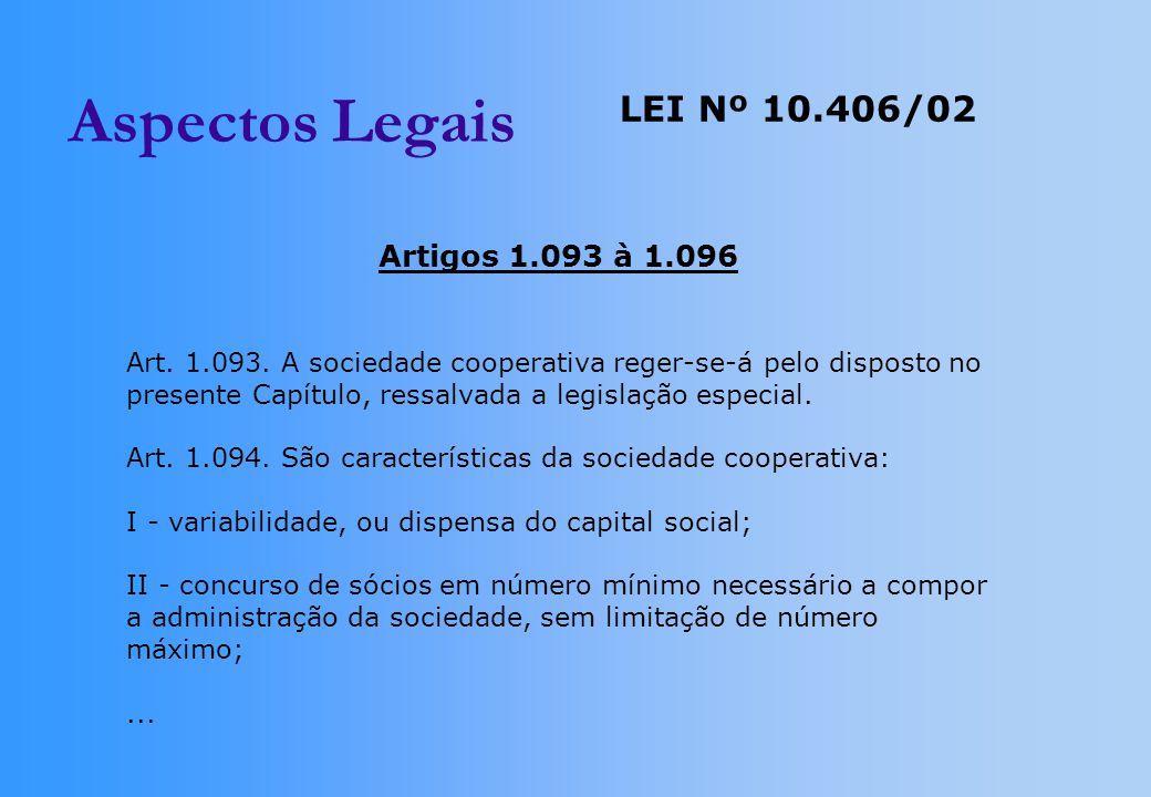 Aspectos Legais Artigos 1.093 à 1.096 LEI Nº 10.406/02 Art. 1.093. A sociedade cooperativa reger-se-á pelo disposto no presente Capítulo, ressalvada a