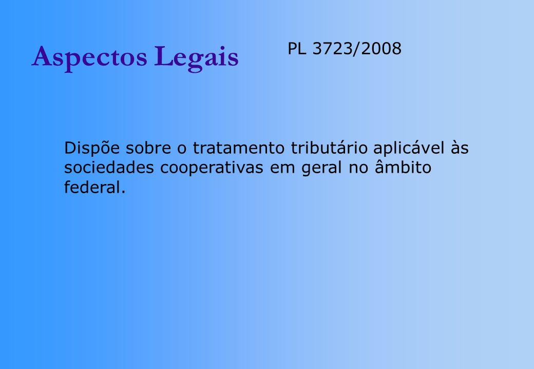Aspectos Legais PL 3723/2008 Dispõe sobre o tratamento tributário aplicável às sociedades cooperativas em geral no âmbito federal.