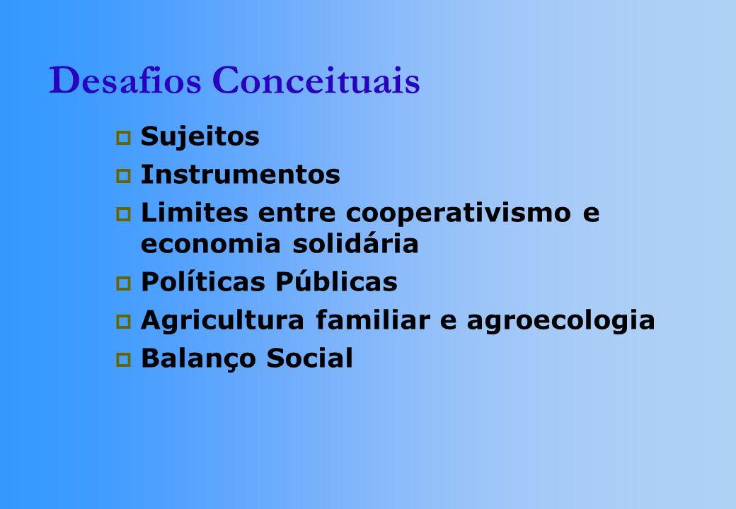 Desafios Conceituais Sujeitos Instrumentos Limites entre cooperativismo e economia solidária Políticas Públicas Agricultura familiar e agroecologia Balanço Social