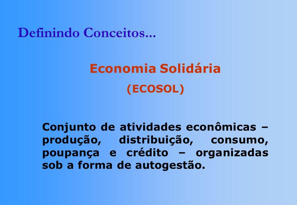 Definindo Conceitos... Economia Solidária (ECOSOL) Conjunto de atividades econômicas – produção, distribuição, consumo, poupança e crédito – organizad