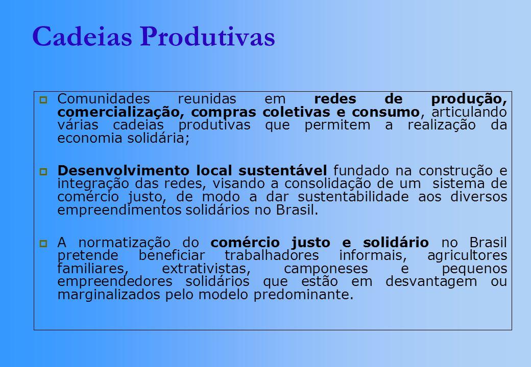 Cadeias Produtivas Comunidades reunidas em redes de produção, comercialização, compras coletivas e consumo, articulando várias cadeias produtivas que permitem a realização da economia solidária; Desenvolvimento local sustentável fundado na construção e integração das redes, visando a consolidação de um sistema de comércio justo, de modo a dar sustentabilidade aos diversos empreendimentos solidários no Brasil.