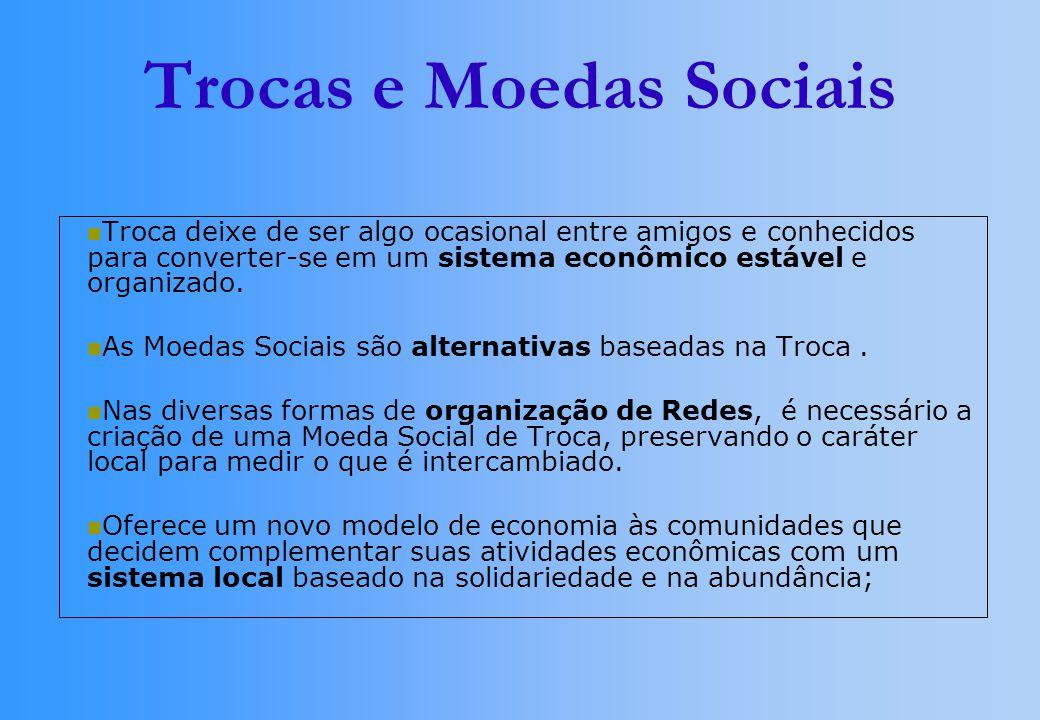 Trocas e Moedas Sociais Troca deixe de ser algo ocasional entre amigos e conhecidos para converter-se em um sistema econômico estável e organizado. As