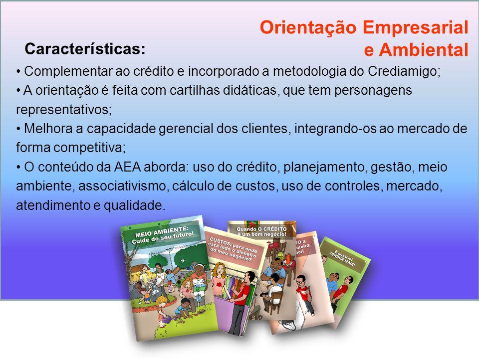 Complementar ao crédito e incorporado a metodologia do Crediamigo; A orientação é feita com cartilhas didáticas, que tem personagens representativos;