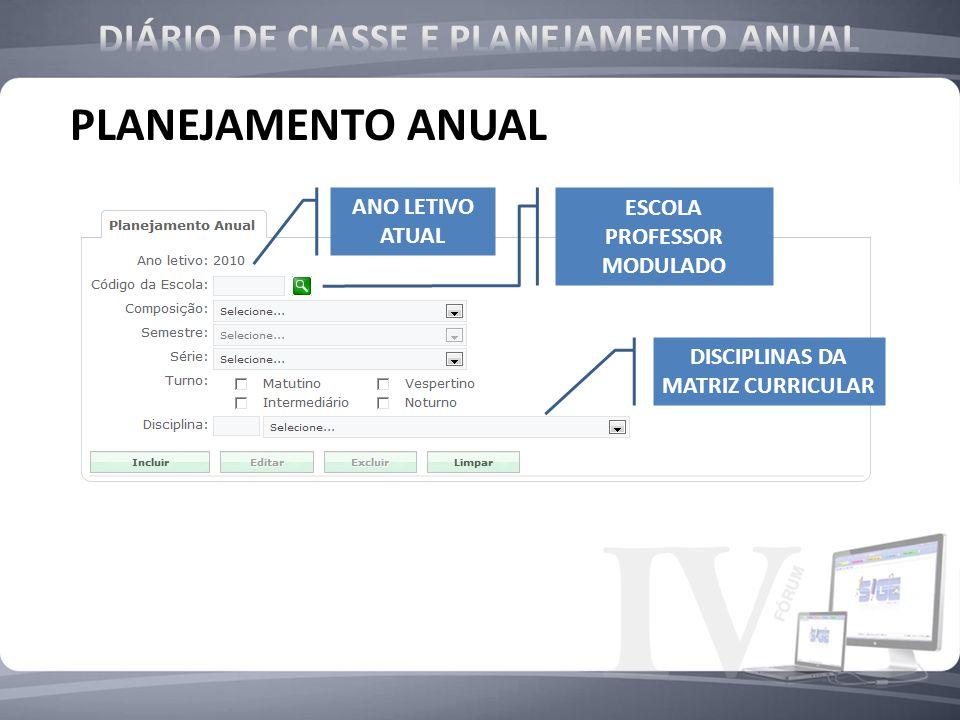 ANO LETIVO ATUAL DISCIPLINAS DA MATRIZ CURRICULAR ESCOLA PROFESSOR MODULADO PLANEJAMENTO ANUAL