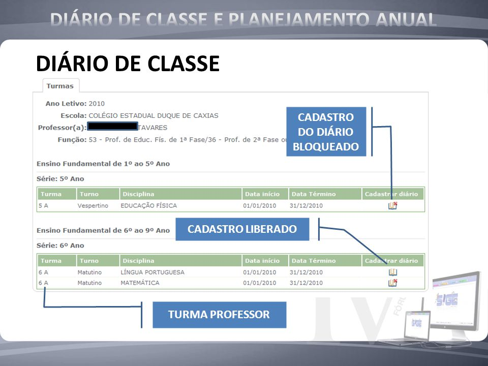 DIÁRIO DE CLASSE TURMA PROFESSOR CADASTRO DO DIÁRIO BLOQUEADO CADASTRO LIBERADO
